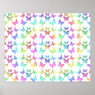 Pastel Butterfly Pattern Poster