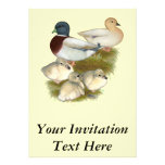 Pastel Call Duck Family Personalised Invites