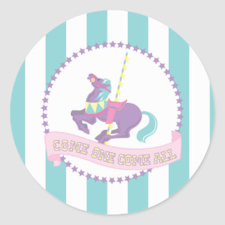 Pastel Carnival Stickers with Carousel Horse