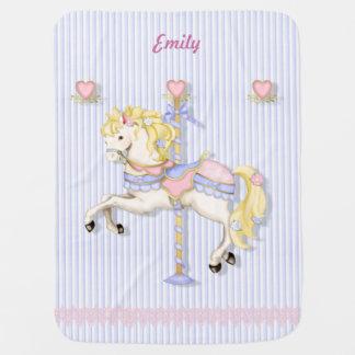 Pastel Carousel Pony Baby Blanket