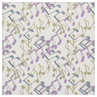 Pastel Chain Link Music Notes Pattern Fabric