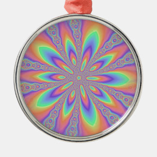 Pastel Chains Pattern Silver-Colored Round Decoration