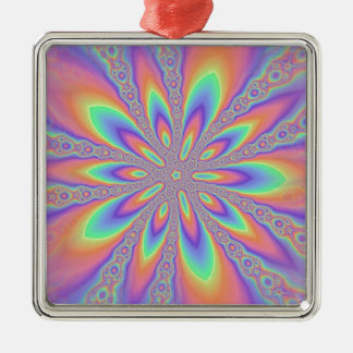 Pastel Chains Pattern Silver-Colored Square Decoration