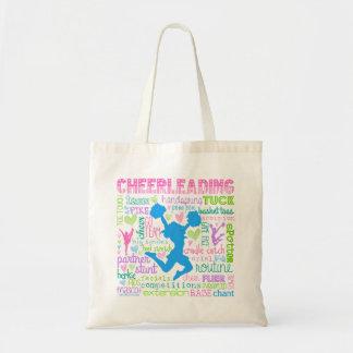 Pastel Cheerleading Words Typography Budget Tote Bag