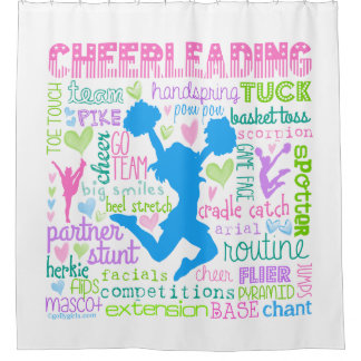 Pastel Cheerleading Words Typography Shower Curtain