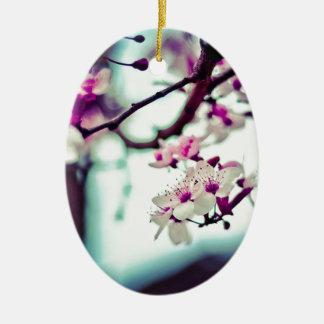 Pastel cherry blossom photo ceramic oval decoration