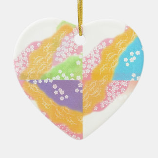 Pastel Cherry Blossoms Ceramic Heart Decoration