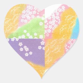 Pastel Cherry Blossoms Heart Sticker