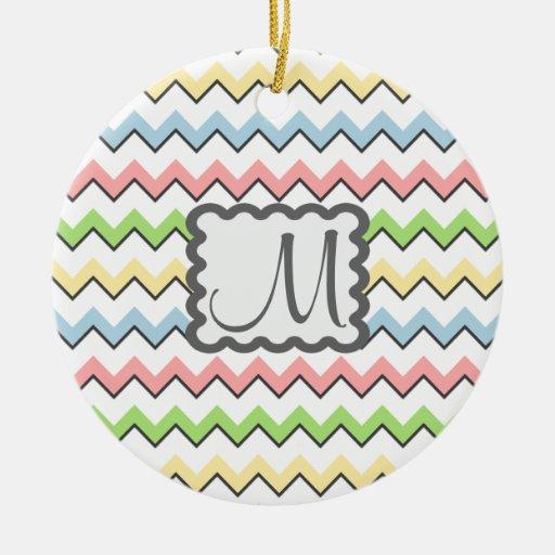 Pastel Chevron-Drop Shadow With Monogram Christmas Ornaments