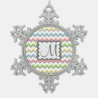 Pastel Chevron-Drop Shadow With Monogram Ornament