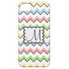 Pastel Chevron-Drop Shadow With Monogram iPhone 5 Case