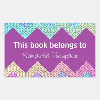 Pastel Chevron Mosaic Custom Bookplate Rectangle Sticker