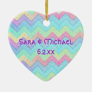 Pastel Chevron Mosaic Personalized Ceramic Heart Decoration