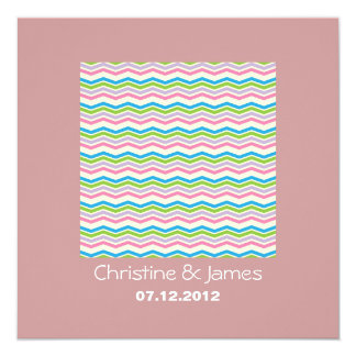 Pastel chevron on rosy brown wedding invitation