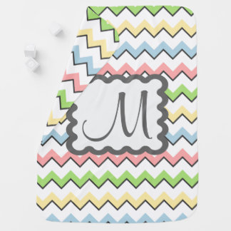 Pastel Chevron with Monogram by Shirley Taylor Baby Blanket