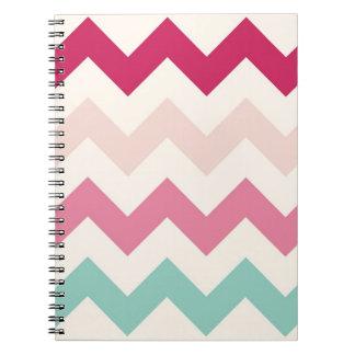 Pastel chevron zigzag preppy zig zag pattern chic spiral notebook