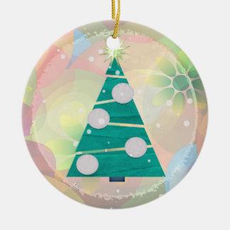 Pastel Christmas HOLIDAY 1st Christmas Round Ceramic Decoration