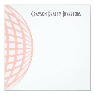 Pastel Circle Globe Corporate Business 5.25x5.25 Square Paper Invitation Card