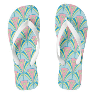 Pastel Color Art Deco Pattern Flip Flops