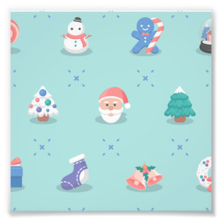 Pastel Color Christmas Characters Seamless Pattern Art Photo