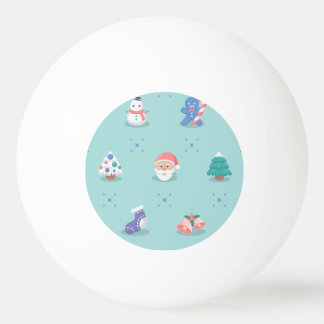 Pastel Color Christmas Characters Seamless Pattern Ping Pong Ball