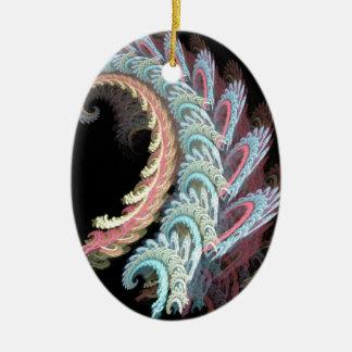 Pastel Color Paisley Fractal Art Design Gifts Ceramic Oval Decoration