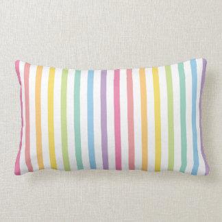 Pastel Color Rainbow Stripes Pattern Lumbar Cushion