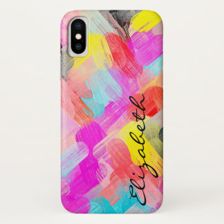 Pastel Colored Abstract Monogram iPhone X Case