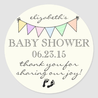 Pastel Colored Bunting-Baby Shower Thank You Round Sticker