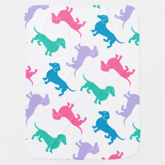 Pastel Colored Dachshunds Baby Blankets