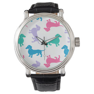 Pastel Colored Dachshunds Wrist Watches