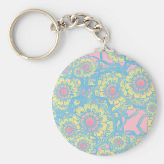 Pastel colored daisies key chain