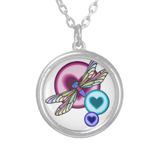 Pastel colored dragonfly with blue pink and purple silver plated necklace