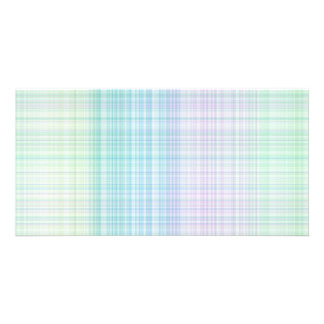pastel colored gingham pattern personalised photo card