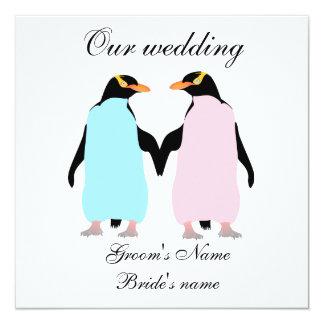 Pastel colored penguins wedding invitation