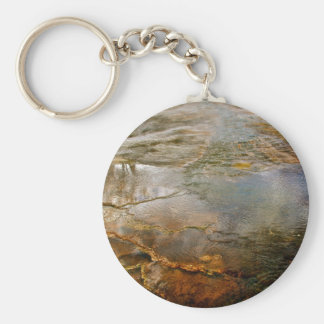 PASTEL COLORED VOLCANIC MINERALS IN YELLOWSTONE BASIC ROUND BUTTON KEY RING