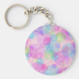 Pastel Colorful Circles Pattern Basic Round Button Key Ring