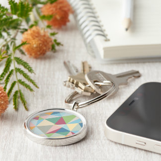 Pastel Colorful Modern Abstract Geometric Pattern Silver-Colored Round Key Ring