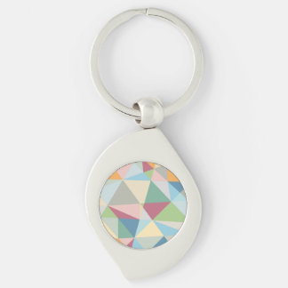Pastel Colorful Modern Abstract Geometric Pattern Silver-Colored Swirl Key Ring