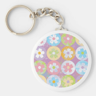 Pastel colorful pretty flowers key chain