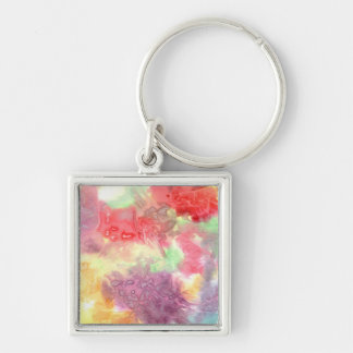 Pastel colorful watercolour background image Silver-Colored square key ring