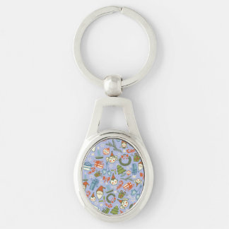 Pastel Colors Christmas Characters Pattern Silver-Colored Oval Key Ring