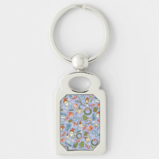 Pastel Colors Christmas Characters Pattern Silver-Colored Rectangle Key Ring