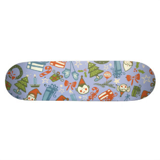Pastel Colors Christmas Characters Pattern Skate Board Deck