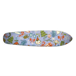 Pastel Colors Christmas Characters Pattern Skateboard Deck