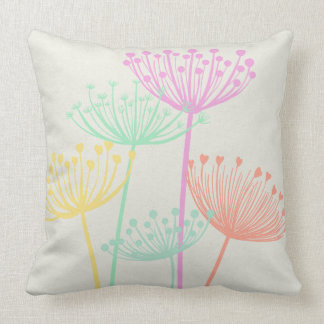 Pastel Colors Dandelion Seedheads Flowers Summer Cushion