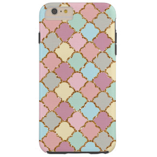 Pastel Colors Faux Gold Quatrefoil Mosaic Pattern Tough iPhone 6 Plus Case