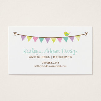 Pastel Colors Patterned Bunting and Cute Bird