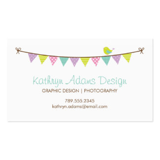 Pastel Colors Patterned Bunting and Cute Bird Business Card Templates