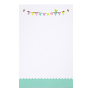 Pastel Colors Patterned Bunting and Cute Bird Stationery